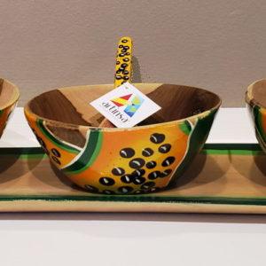 Artesanía en madera Verá - Salseras, recipientes y caserolas de madera pequeñas intervenidas con pinturas realizadas a mano por Margariteños, diseños frutales de patilla, sandía, lechosa o papaya