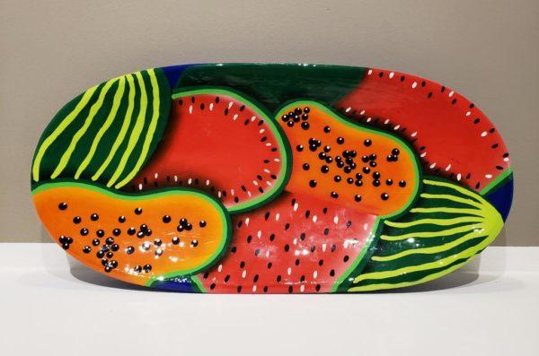 Bandeja ensaladera, frutera o verdureda, artensanía venezolana, diseño con motivo frutal patilla - lechosa (Papaya) - Hogar y utensilios de cocina artísticos de venezuela