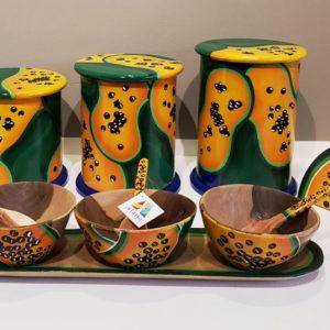 Juego o set completo de cocina - Artesanía y arte venezolano exclusivo - diseños únicos en lechosa y papaya - Hermosas piezas para decorar tu cocina al mejor estilo de la cultura y arte de Venezuela