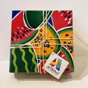 Hermoso juego de portavasos o posavasos artesanales hechos en madera y pintados a mano por venezolanos en margarita