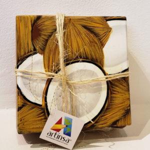 Set o juego de 4 posavasos, portavasos artesanales venezolanos en Margarita