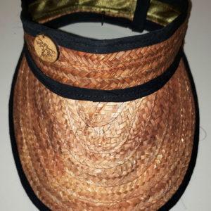 Visera oscura artesanal con bordes negros, pieza de artesanía típica de nuestro hermoso país Venezuela, confeccionada por artesanos en Mapire o Cogollo con sus propias manos, en Margarita